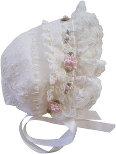 Ivory Lace and Pink Roses Baby Bonnet