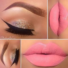 Beautiful gold glitter eye with dark brown on the crease and a light shadow across the brow bone paired with thick black winged liner & lashes - pink, coral or nude lips go really well with this eye make up look #beauty...x