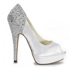Starry By Pink Wedding Shoes In White http://www.bellissimabridalshoes.com/trends/platform-wedding-shoes/white-dyeable-pink-starry-bridal-shoes