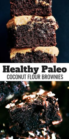 Triple Fudge Coconut Flour Brownies - Paleo Gluten Free Eats A must make decadent triple fudge coconut flour brownie recipe! Completely paleo and a healthy treat for everyone! Gluten eaters and health Paleo Dessert, Healthy Sweets, Gluten Free Desserts, Healthy Baking, Delicious Desserts, Dessert Recipes, Heathy Treats, Coconut Flour Brownies, Paleo Brownies