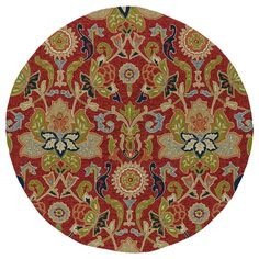 Home and Porch Garden Red 7 ft. 9 in. Indoor/Outdoor Round Area Rug