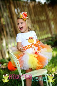 HALLOWEEN Candy Corn Got Candy Baby to Toddler Tutu Skirt Costume in All Sizes for Little Girls - Custom Made To Order 1 2 3 4 Year. $28.00, via Etsy.