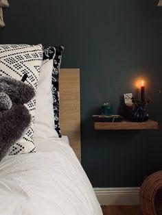 Green Smoke Bedroom – farrow and ball – IKEA Malm bed Malm Hack, Ikea Malm Bed, Bed Sheets, Master Bedroom, Smoke, Wood, Green, Nest, Inspiration