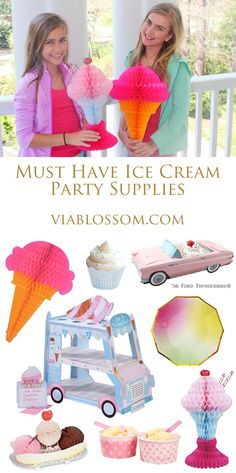 Must have Ice Cream Party Supplies!  Ice Cream party ideas on the Via Blossom Blog!  Everything you'll need for your Ice Cream Party from Party Supplies to decorations!