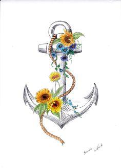 Anchor and sunflower by Lupanita.deviantart.com on @DeviantArt