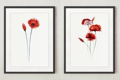 Poppies Set of 2 Art Prints. Floral Garden Watercolor Paintings. Poppy Living Room Wall Decor. Abstract Flowers Gift Idea. Meadow Illustration Wall Hanging. Red Poppy Home Decor. A price is for the set of 2 watercolor paintings as shown on the first photo.  Type of paper: Prints up to (42x29,7cm) 11x16 inch size are printed on Archival Acid Free 270g/m2 White Watercolor Fine Art Paper and retains the look of original painting. Larger prints are printed on 200g/m2 White Semi-Glossy Poster…