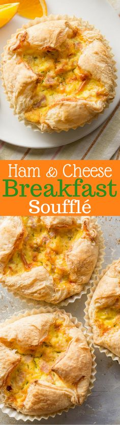 Ham & Cheese Breakfast Soufflé - an easy and delicious soufflé loaded with smoked Gouda, diced ham, eggs and salty Parmesan cheese all wrapped up in a puff pastry shell. www.savingdessert.com
