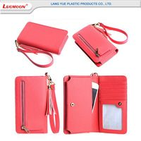 PU red clutch bifold purse multi-card slot leather wallet case bag with strap…