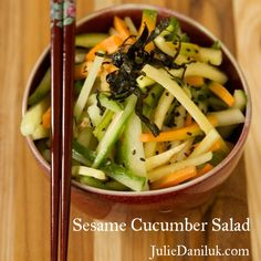 Healthy and healing Japanese- inspired Sesame Cucumber Salad. Ginger's pungency comes from a constituent called gingerol which has strong anti-inflammatory and pain-relieving powers. Sesame contains a phytonutrient known as sesamin that inhibits the conversion of omega 6 fats to inflammatory messengers.