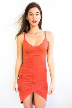 Nita Burnt Orange Suede Fitted Dress