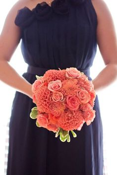 navy bridesmaid dress coral bouquet brides of adelaide magazine