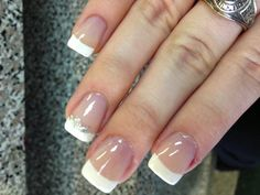 French manicure with a silver lining and bow :) So cute!