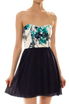 Floral Print Strapless Flared Dress http://velvetowl.com/products/floral-print-strapless-flared-dress