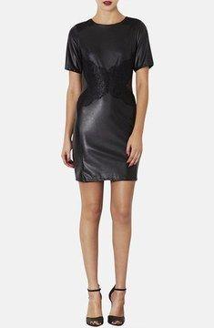 Topshop Lace Trim Faux Leather Dress