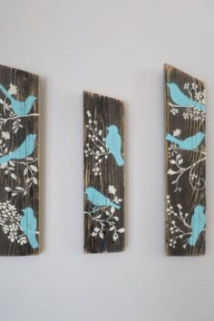 3 Relaimed Upcycled Country Custom Order Blue Birds Rustic Shabby Chic Wall Deco… 3 Relaimed Upcycled Country Custom Order Blue Birds Rustic Shabby Chic Wall Decor Sign Wood by aftr Rustikalen Shabby Chic, Shabby Chic Wall Decor, Rustic Decor, Rustic Wood, Rustic Wall Art, Arte Pallet, Pallet Art, Pallet Ideas, Pallet Wall Decor