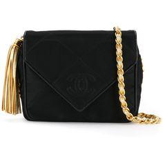 Chanel Vintage satin quilted shoulder bag ($3,348) ❤ liked on Polyvore featuring bags, handbags, shoulder bags, black, chanel handbags, quilted chain shoulder bag, vintage handbags, tassel purse and quilted handbags