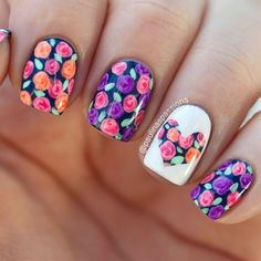 My birthday mani! Full of flowers and bright colors. That's what I like best! :)See the BLOG for more info.