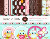 Digital Paper and Clipart set Funny Owls. Peace. For Personal and Small Commercial Use