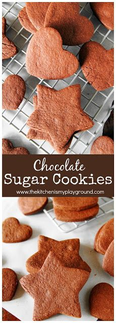 Chocolate Sugar Cookies ~ a chocolatey twist on the classic! #sugarcookies #chooclate #chocolatecookies #cookies www.thekitchenismyplayground.com