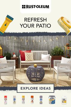 Refresh your back patio on a budget with these easy and fun DIY projects you can do when bored at home. There's a Rust-Oleum product to refresh any patio surface and create your very own backyard oasis. #prideinthemaking Cool Diy Projects, Outdoor Projects, Eric Stanton, Gazebo On Deck, Bored At Home, Feminist Art, Outdoor Decorations, Back Patio, Women's Jewelry