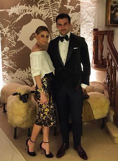 Olivia Palmero does cocktail dressing with a twist. A sparkly, statement pencil skirt with a relaxed Arden Crepe Off-The-Shoulder Top.