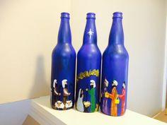 Nativity Story painted Beer Bottles set of 3