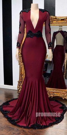 Long Sleeves V Neck Open Back Mermaid Burgundy Long Prom Dresses Senior Prom Dresses, Prom Outfits, V Neck Prom Dresses, Prom Dresses Online, Prom Party Dresses, Prom Gowns, Graduation Dresses, Occasion Dresses, Long Sleeve Formal Gowns