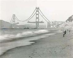 The building of the Golden Gate Bridge in the 1930's