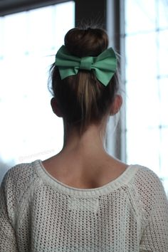 Simple and lovely - high bun with bow in the back - #hair styles