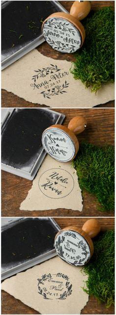 Wooden Wedding custom stamps #wedding #weddingideas #custom #wood #rustic #creative