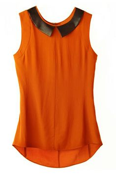 ROMWE | Asymmetric Zippered PU Panel Deep Orange Shirt, The Latest Street Fashion
