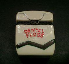 Porcelain Dental Floss Container Keeper Vintage