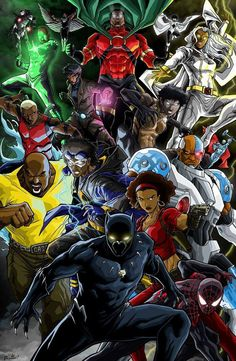 Black Anime Characters, Comic Book Characters, Comic Book Heroes, Comic Books Art, Comic Art, Book Art, Black Panther Art, Black Panther Marvel, Marvel Comics Art