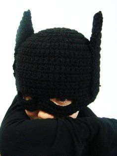 Batman Hat... Grandma Janet needs to whip these up for Heaven and her friends :0) ohh yes I will be fwding her the pic she can make it happen!