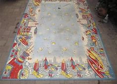 Vintage Space Travel Linoleum Rug Buck Rogers Era Rockets 1930s 6x9 Antique RARE | eBay sold by bidzilla!