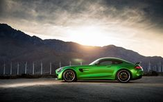 Download wallpapers 4k, Mercedes-AMG GT R, sunset, 2018 cars, supercars, Mercedes