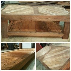 Coffee table i made with reclaimed antique heart pine and reclaimed  hardwood flooring