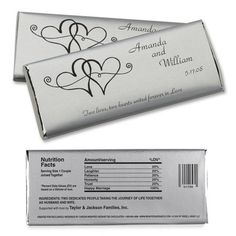 Free Hershey Candy Bar Wrers Twin Hearts Large Hersheys Chocolate Wedding Favors