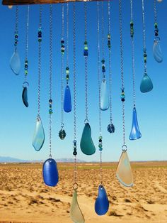 Beach Glass Windchime  With Wire Wrapped Glass by mexicobeachgirl, $55.00