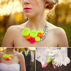 Handmade neon rosette necklace by Holly Gauper