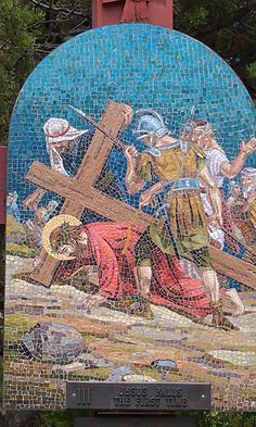 3 Stations of the Cross along the stairs @ Mother Cabrini Shrine Colorado. . Each station is made of stone mosaics made in Italy and depicts the suffering of our divine Lord as He gave His life for our salvation
