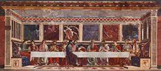 The Last Supper of Sant'Apollonia. By Andrea del Castagno (or Andrea di Bartolo di Bargilla) (c. 1421 – 19 August 1457) He was an Italian painter from Florence, influenced chiefly by Tommaso Masaccio and Giotto di Bondone.