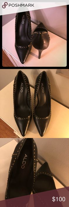 Aldo Spiked Heels Aldo brand pointed toe heels. Black with gold spikes. Never worn. No box. Size 7 1/2. Aldo Shoes Heels
