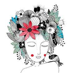 CARTE - PRINTEMPS Carte postale en format 14x14cm imprimée sur beau papier à grain de 340g/m2. ... Vogel Illustration, Art And Illustration, Watercolor Illustration, Kunstjournal Inspiration, Art Journal Inspiration, Zentangle Drawings, Art Drawings, Zen Art, Watercolor And Ink