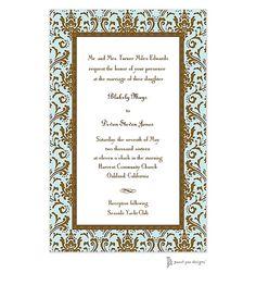 Damask Aqua & Chocolate Invitation | Free Spirit Invitations