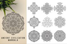 This bundle contains 300 unique vector Black & White mandala designs (some have clean lines and some have an organic look to have a more hand made feel to it) - Geometric Tattoo Sleeve Designs, Sacred Geometry Symbols, Background For Photography, Photography Backgrounds, Relaxation Meditation, Indian Mandala, Paper Ornaments, Ancient Civilizations, Mandala Design