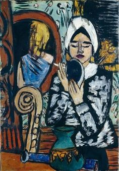 Lady With A Mirror Artwork By Max Beckmann Oil Painting & Art Prints On Canvas For Sale Max Beckmann, Figure Painting, Painting & Drawing, Max Oppenheimer, Ludwig Meidner, Mirror Artwork, Antoine Bourdelle, Carl Friedrich, New York