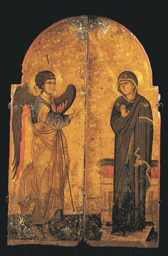 """""""Sanctuary Doors with the Annunciation"""";  Early 13th century;   Silver-colored metal leaf with pigmented varnish over textile and panel;   125.5  X 41 X 3.8 cm;  Sinai;  Holy Monastery of Saint Catherine, Sinai, Egypt"""