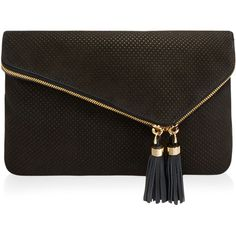 Henri Bendel Debutante Perforated Convertible Clutch (650.150 COP) ❤ liked on Polyvore featuring bags, handbags, clutches, black, black handbags, purse, black clutches and tassel purse