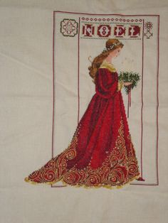 Celtic Christmas by Lavender and Lace. I love the Red dress and gold accents. I stitched this on Ivory Jobelan fabric. Cross Stitch Gallery, Celtic Christmas, Cross Stitch Supplies, Beautiful Christmas, Gold Accents, My Favorite Color, Cross Stitching, Fabric Patterns, Cross Stitch Patterns